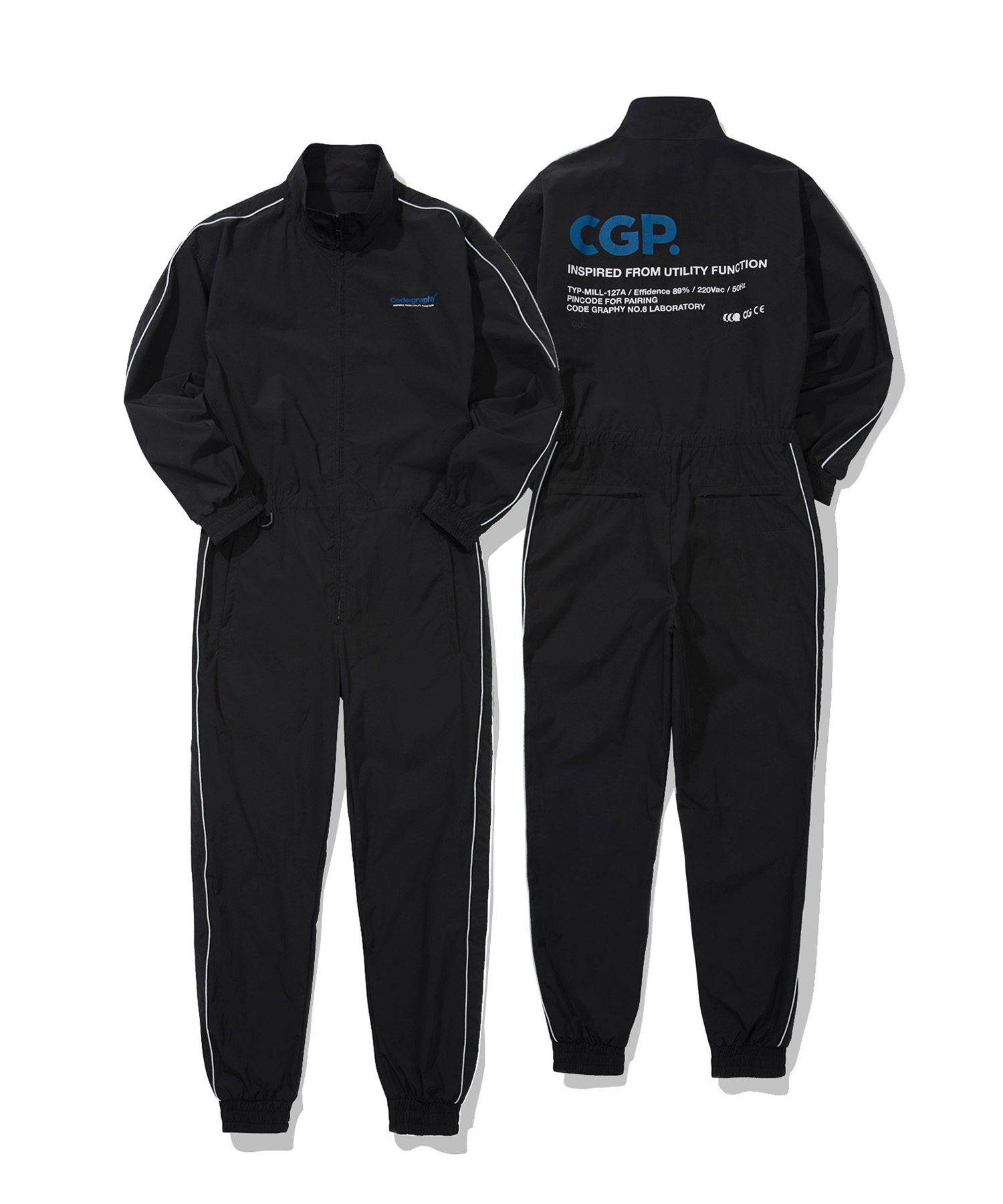 PIPING JUMP SUIT - BK